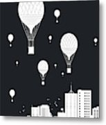 Balloons And The City Metal Print