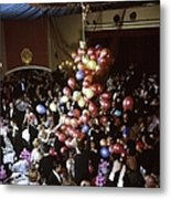 Balloons Dropping On Guests During New Y Metal Print