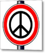 Ban The Bomb Road Sign Metal Print