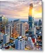 Bangkok City At Sunset, Mahanakorn Metal Print