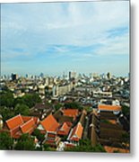 Bangkok View With Temple Roofs 2 Metal Print