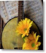Banjo And Two Sunflowers Metal Print