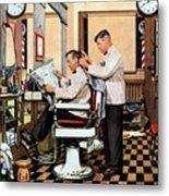 Barber Getting Haircut Metal Print