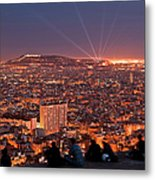 Barcelona At Night With People Metal Print