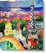 Barcelona By Moonlight Watercolor Painting By Mona Edulesco Metal Print