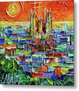 Barcelona Orange View - Sagrada Familia View From Park Guell - Abstract Palette Knife Oil Painting Metal Print