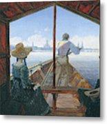 Barge Trip On The Elbe Near Dresden, Morning On The Elbe, 1827 Metal Print