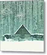 Barn In Snowfall Metal Print