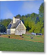 Barn - Silo - Cows Metal Print