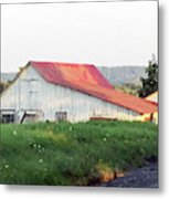 Barn With Red Roof Metal Print