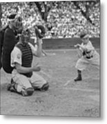 Baseball Gimmick Utilizing Dwarf Metal Print