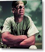 Baseball Player Mickey Mantle Metal Print