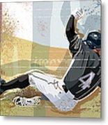 Baseball Player Sliding Into Base Metal Print