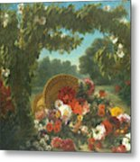 Basket Of Flowers  Metal Print