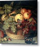 Basket Of Fruit And Admiral Butterfly Metal Print