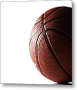 Basketball On White Background Metal Print
