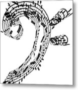 Bass Clef Made Of Music Notes Metal Print
