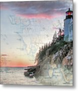 Bass Harbor Lighthouse On A Chart Metal Print
