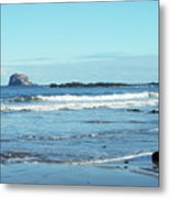 Bass Rock And Beach At North Berwick Metal Print