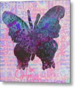 Be Happy Butterfly Metal Print
