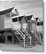 Beach Huts Sunset In Black And White Metal Print
