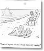 Beach Reading Metal Print
