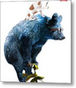 Bear And Dog Circus Show Illustration Metal Print