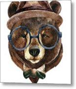 Bear Head Watercolor Metal Print
