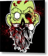 Bearded Zombie Undead With Beard Halloween Party Dark Metal Print