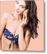 Beautiful Beach Babe Over Studio Background Metal Print