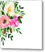 Beautiful Floral Hand Drawn Watercolor Metal Print
