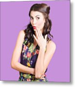 Beautiful Girl With Red Lips Expressing Surprise Metal Print
