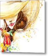 Beautiful Young Woman With Fruit Metal Print