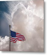 Beautifully Waves - U S Flag And Clouds Metal Print