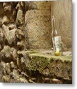 beer bottle left in old lane in Edinburgh Metal Print