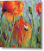 Bees And Poppies Metal Print