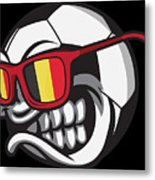 Belgium Angry Soccer Ball With Sunglasses Fanshirt Metal Print