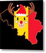 Belgium Christmas Hat Antler Red Nose Reindeer Metal Print