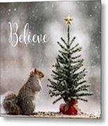 Believe Christmas Tree Squirrel Square Metal Print