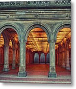 Bethesda Terrace In Central Park - Hdr Metal Print