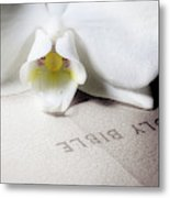Bible With White Orchid Metal Print