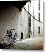 Bicycle Leaning Wall Metal Print