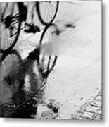 Bicycle On Street Metal Print
