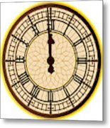 Big Ben Midnight Clock Face Metal Print