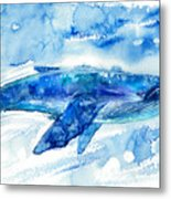 Big Blue Whale And Water.watercolor Metal Print
