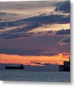 Big Boat Silhouettes Metal Print