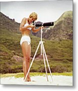 Bikini Girl And Camera Metal Print