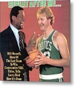 Bill Russell And Boston Celtics Larry Bird Sports Illustrated Cover Metal Print