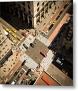 Birds Eye View Of Manhattan, Looking Metal Print