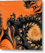Black And Orange  Swirls Metal Print
